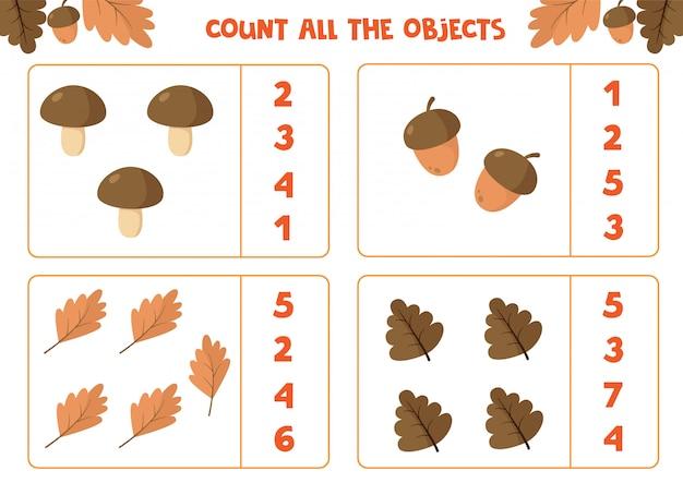 Educatief werkblad voor kinderen. tel alle objecten. math spel voor kinderen. herfst set. Premium Vector