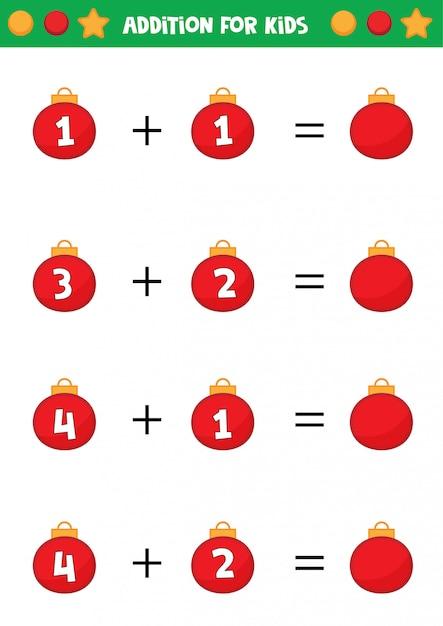 Educatief werkblad voor kleuters. toevoeging voor kinderen met kerstballen. Premium Vector