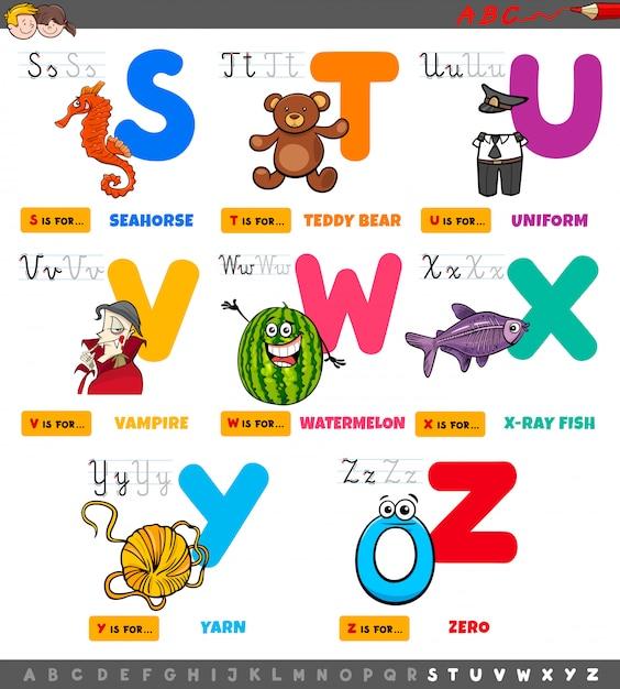 Educatieve cartoon alfabet letters set Premium Vector