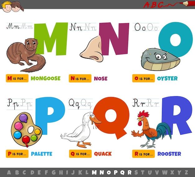 Educatieve cartoon alfabetletters voor kinderen van m tot r Premium Vector