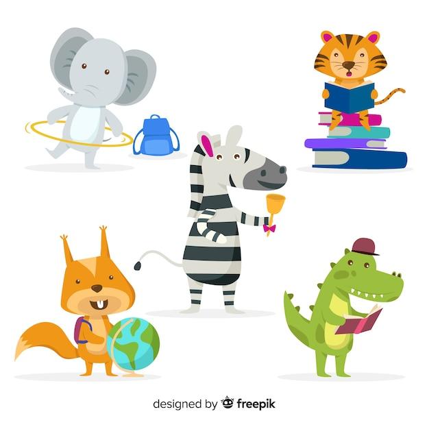 Educatieve dieren kleurrijke collectie Gratis Vector