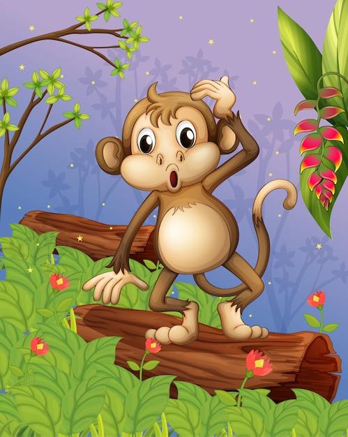 Een aap die in de tuin speelt Gratis Vector