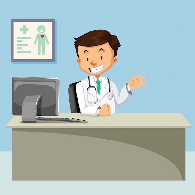 Een arts bij kliniekillustratie Gratis Vector