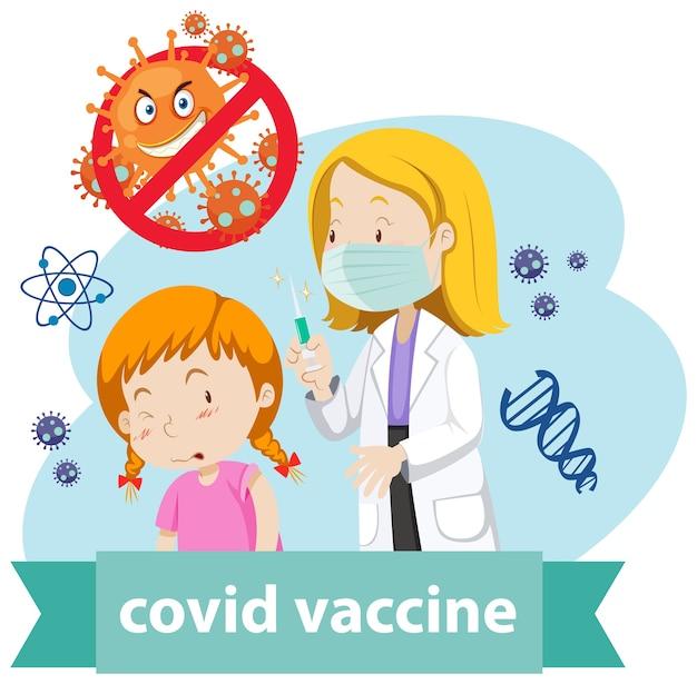Een arts draagt een masker en houdt een medische spuit met naald vast voor covid-19 of coronavirus en een meisje Gratis Vector