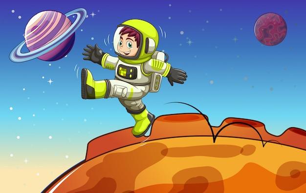 Een astronaut in de buitenruimte Gratis Vector