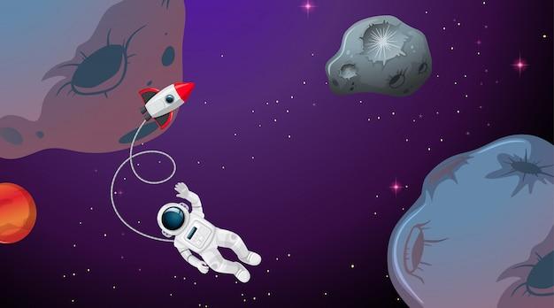 Een astronaut in de ruimte Gratis Vector