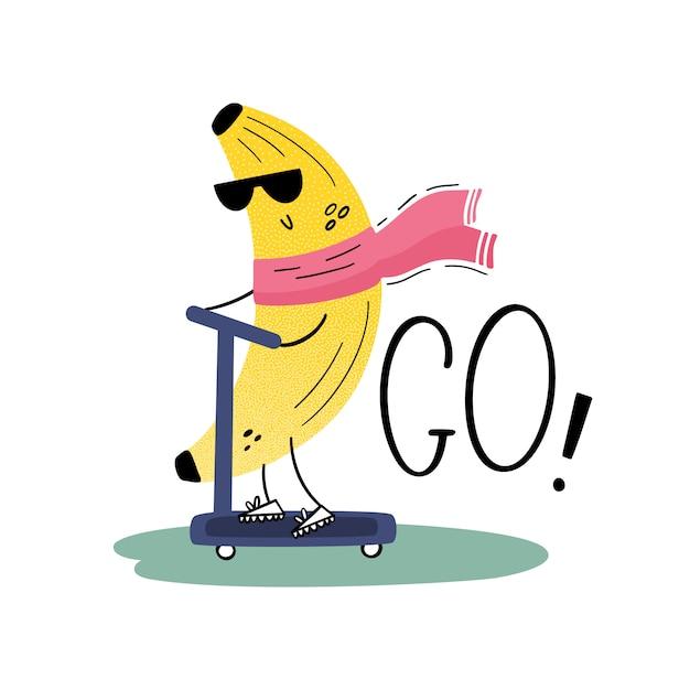 Een banaan met zonnebril op een scooter. traveler. vrolijk fruit op vakantie. vector illustratie in vlakke stijl, hand getrokken Premium Vector