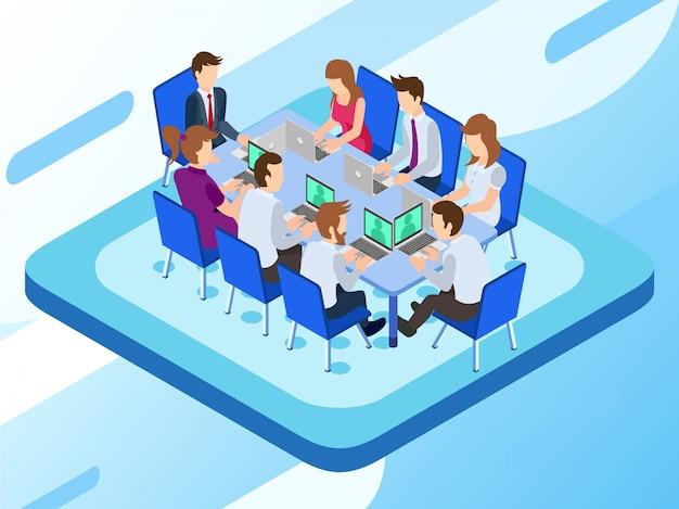 Een bedrijfsgroep die werkt aan hun laptops in een vergadersessie Premium Vector