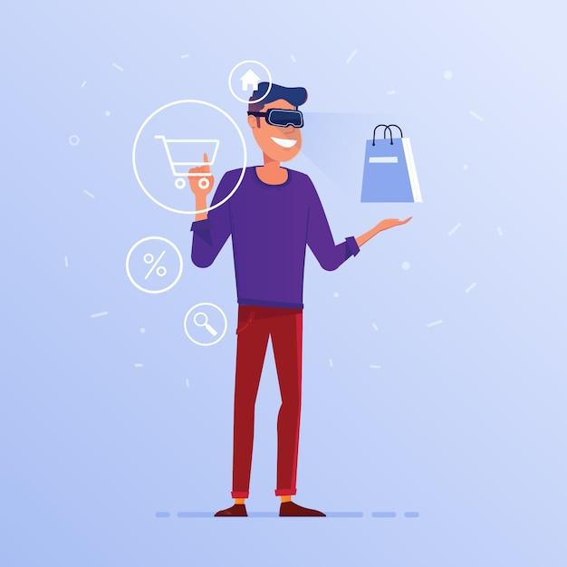 Een blanke man in vr-headset doet online winkelen. Premium Vector