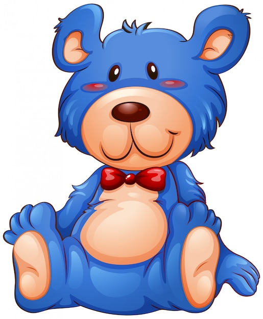 Een blauwe teddybeer Gratis Vector