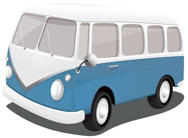 Een blauwe vintage bestelwagen Premium Vector