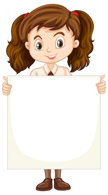 Een blij meisje met blanco papier Gratis Vector