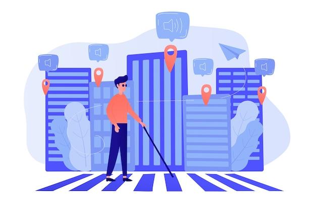 Een blinde man steekt de straat over met smart tags en gesproken meldingen. barrièrevrije, comfortabele omgeving als iot- en smart city-concept. vector illustratie Gratis Vector