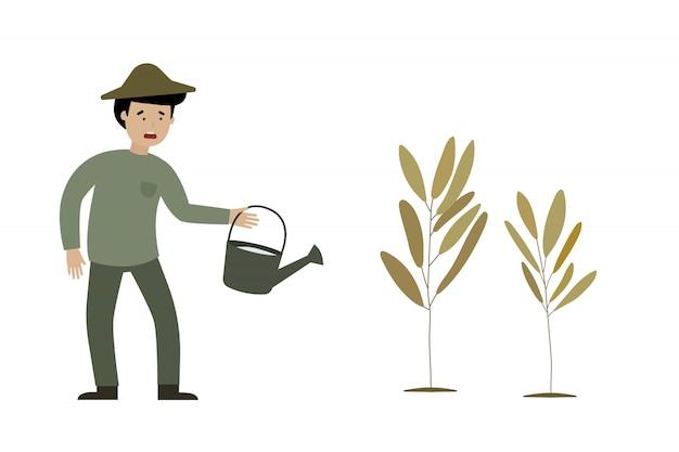 Een boer is verdriet en dode planten Premium Vector