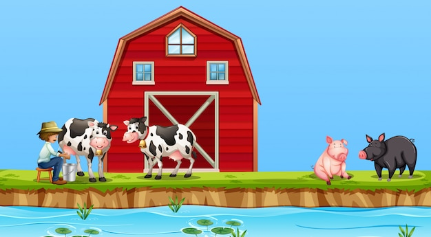 Een boer melken koe op boerderij Gratis Vector