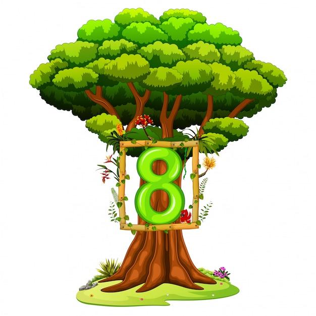 Een boom met een nummer acht op een witte achtergrond Premium Vector