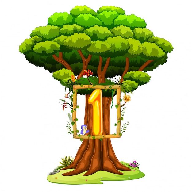 Een boom met een nummer een figuur op een witte achtergrond Premium Vector