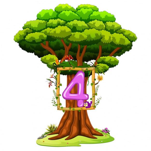 Een boom met een nummer vier op een witte achtergrond Premium Vector