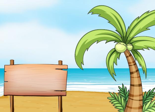Een bord in de kust Gratis Vector