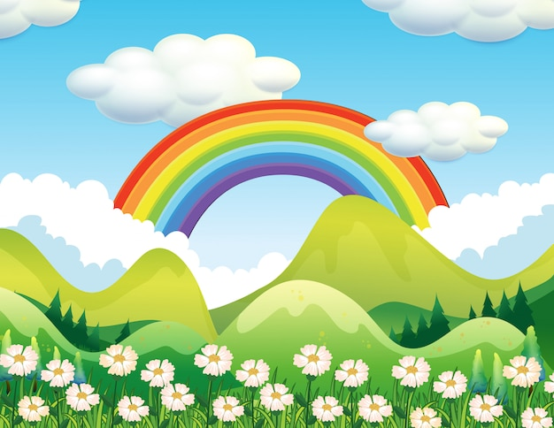 Een bos- en regenboogscène Gratis Vector