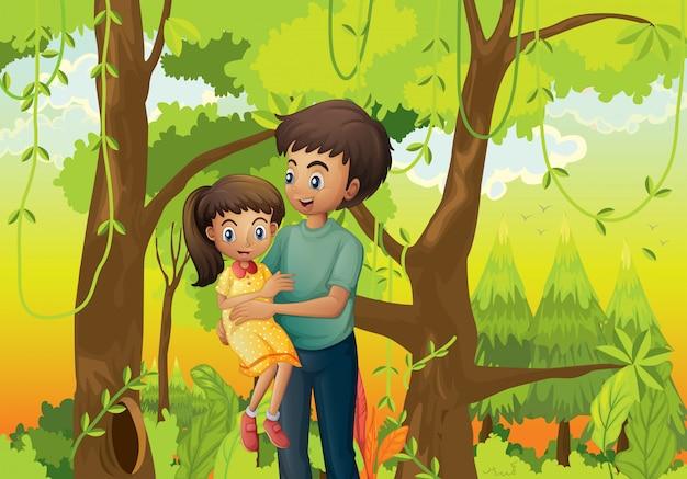 Een bos met een vader die zijn dochter vervoert Gratis Vector
