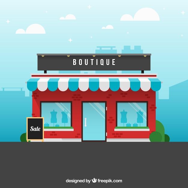 Een boutique, buitenaanzicht Gratis Vector