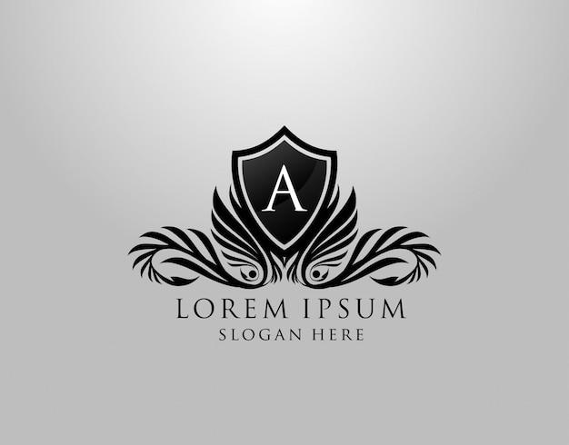Een brieflogo. klassiek inital a royal shield-ontwerp voor royalty's, briefzegel, boetiek, etiket, hotel, heraldiek, sieraden, fotografie. Premium Vector