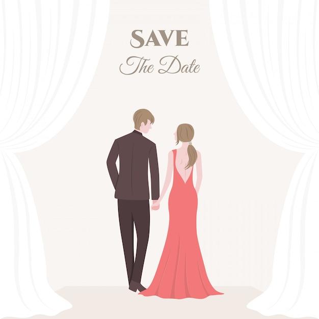Een bruid en bruidegom bruidspaar Premium Vector