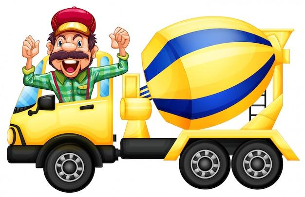 Een chauffeur van de cementvrachtwagen op witte achtergrond Gratis Vector