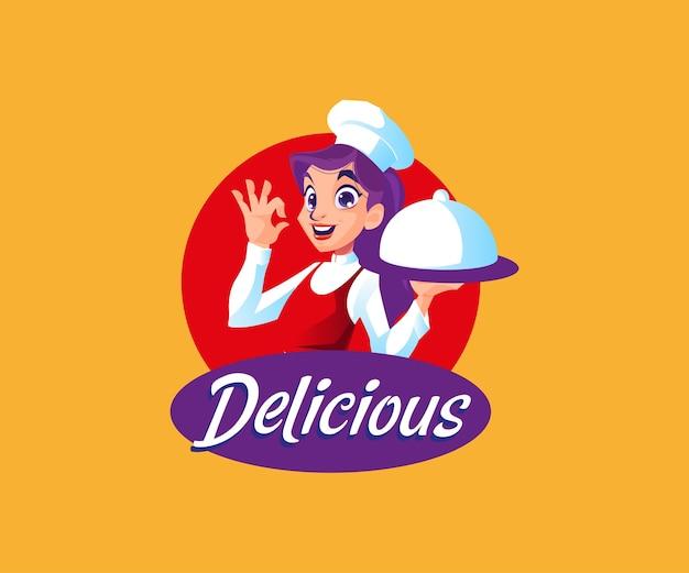 Een chef-kok met heerlijk eten mascotte logo Premium Vector