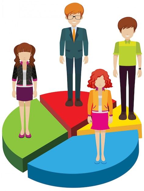 Een cirkelvormige grafiek met mensen Gratis Vector
