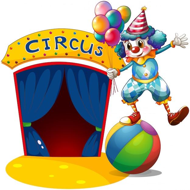 Een clown met ballonnen balancerend boven een bal Gratis Vector