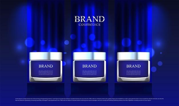 Een cosmetische advertentie op standaard blauw doek Premium Vector