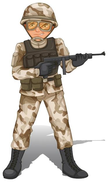Een dappere soldaat Gratis Vector
