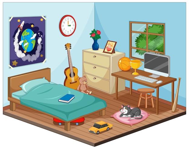 Een deel van de slaapkamer van de kinderenscène in cartoonstijl Premium Vector