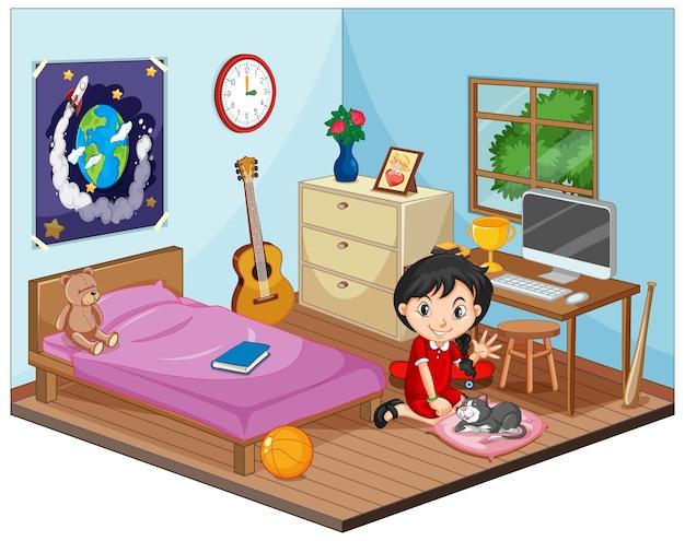 Een deel van de slaapkamer van de kinderenscène met een meisje in cartoonstijl Gratis Vector