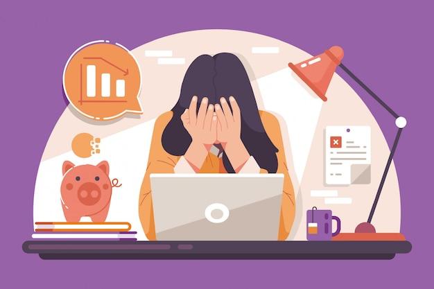 Een depressieve vrouw als gevolg van een faillissement veroorzaakt door een uitbraak van het coronavirus Premium Vector