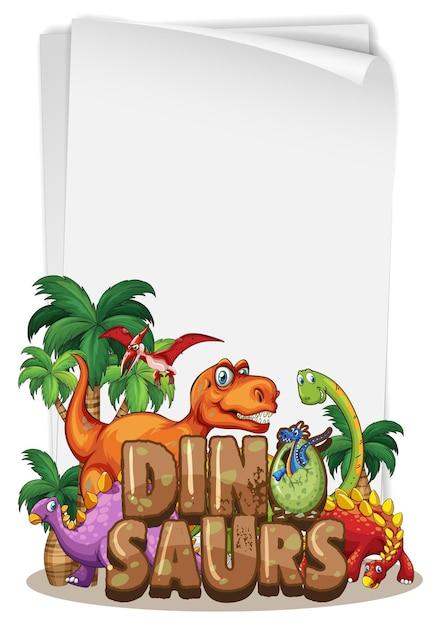 Een dinosaurusbannermalplaatje op witte achtergrond Gratis Vector