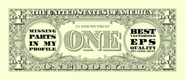 Een dollar bill Premium Vector