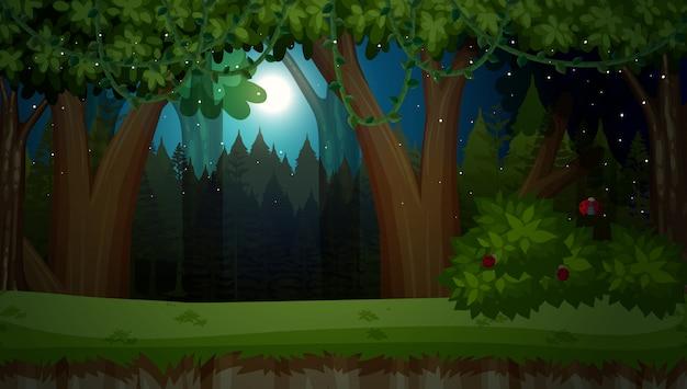 Een donkere nacht in de jungle Premium Vector