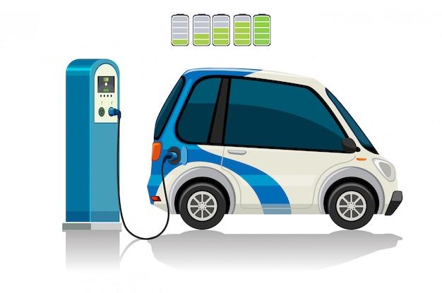 Een elektrische auto bij het laadstation Gratis Vector