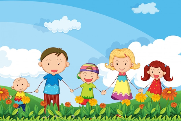 Een familie die in de tuin wandelt Gratis Vector