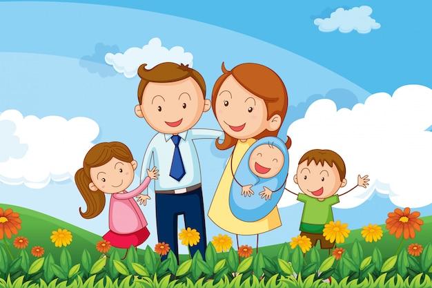 Een familie in de heuvels Gratis Vector