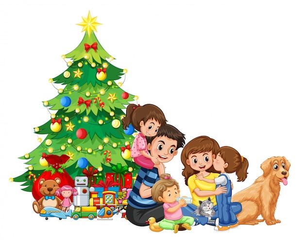 Een familiebijeenkomst met kerstmis Gratis Vector