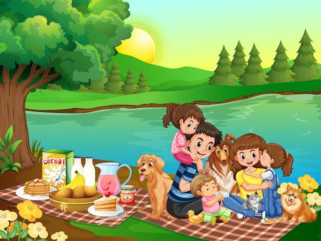 Een familiepicknick in het park Gratis Vector