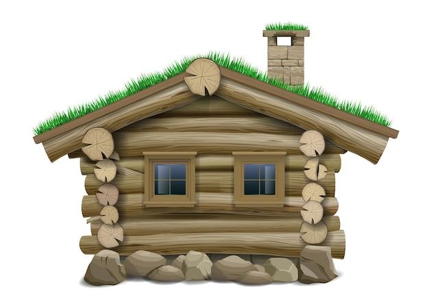Een fantastisch oud houten blokhut op palen. vector. het hobbit- of kabouterhuis. Premium Vector