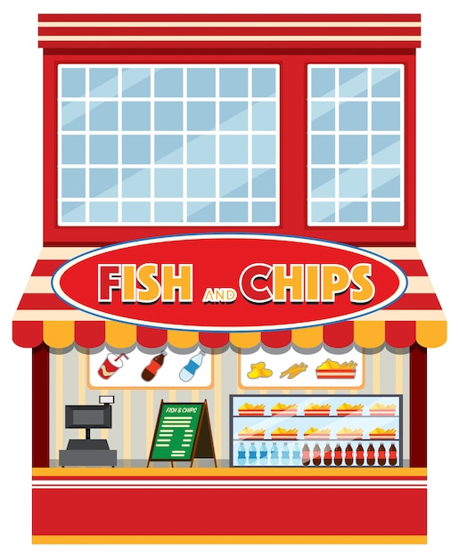Een fish and chips-winkel Premium Vector