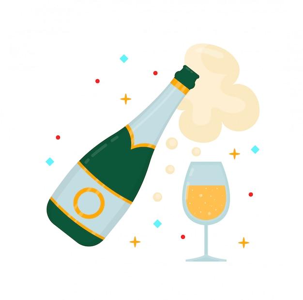 Een fles champagne en een glas. vector moderne vlakke stijl cartoon karakter illustratie Premium Vector