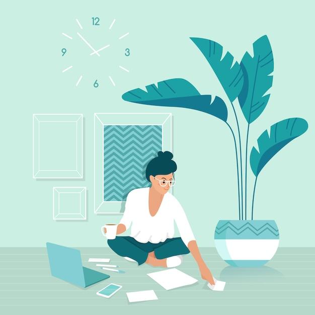 Een freelancer vrouw die thuis werkt Premium Vector
