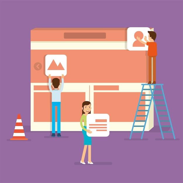 Een front-end specialist building website gebruikersinterface Premium Vector